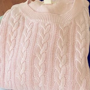 H&M blush pink cable knit sweater. Long sleeves